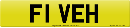 F1 VEH private number plate