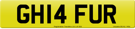GH14 FUR private number plate