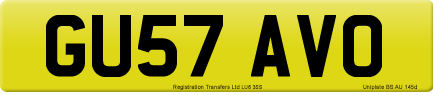 GU57 AVO private number plate