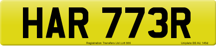 HAR 773R private number plate