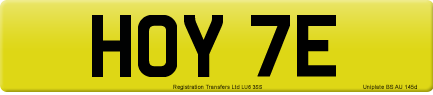 HOY 7E private number plate