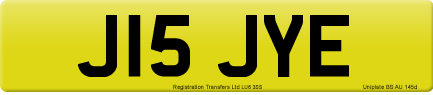 J15 JYE private number plate