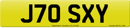 J70 SXY private number plate