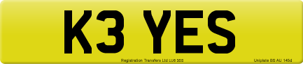 K3 YES private number plate