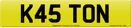 K45 TON private number plate