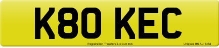 K80 KEC private number plate
