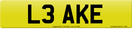 L3 AKE private number plate