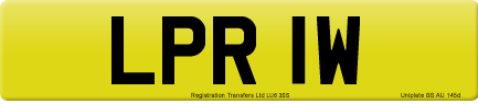 LPR 1W private number plate