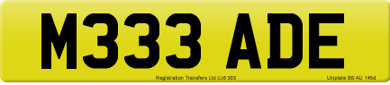 M333 ADE private number plate