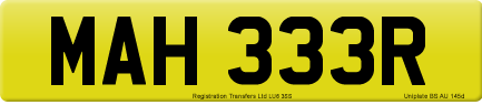MAH 333R private number plate
