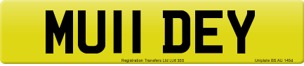 MU11 DEY private number plate
