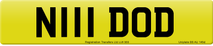 N111 DOD private number plate
