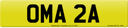 OMA 2A private number plate