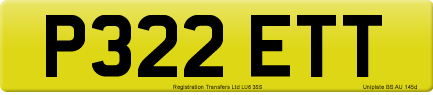 P322 ETT private number plate