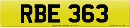 RBE 363 private number plate