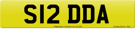S12 DDA private number plate