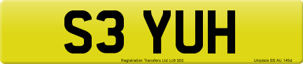 S3 YUH private number plate