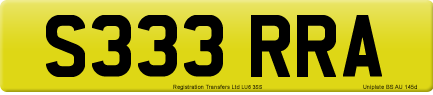 S333 RRA private number plate