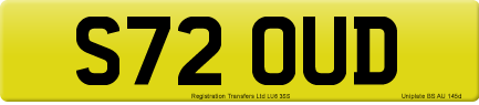 S72 OUD private number plate