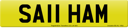 SA11 HAM private number plate