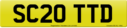 SC20 TTD private number plate