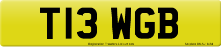 T13 WGB private number plate