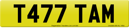 T477 TAM private number plate