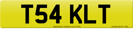 T54 KLT private number plate