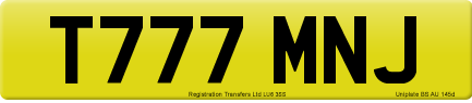 T777 MNJ private number plate