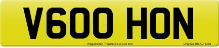 V600 HON private number plate