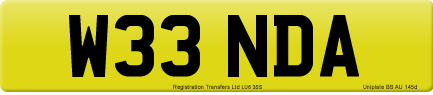 W33 NDA private number plate