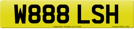 W888 LSH private number plate