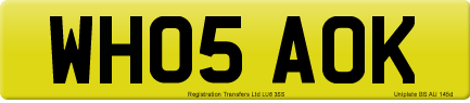 WH05 AOK private number plate