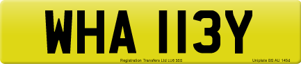 WHA 113Y private number plate