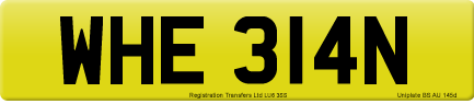 WHE 314N private number plate