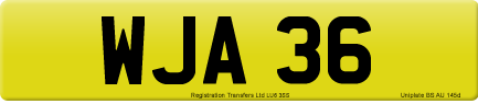 WJA 36 private number plate