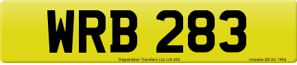 WRB 283 private number plate