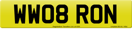 WW08 RON private number plate