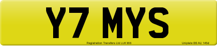 Y7 MYS private number plate